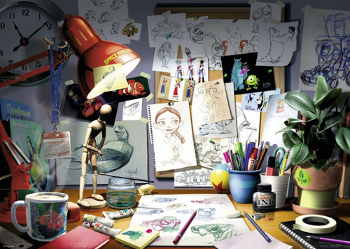 Disney Pixar: The Artist's Desk (1000pc Puzzle) - 1000pc Jigsaw Puzzle by Ravensburger