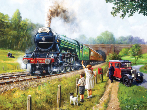 Watching the Trains - 1000pc Jigsaw Puzzle by SunsOut