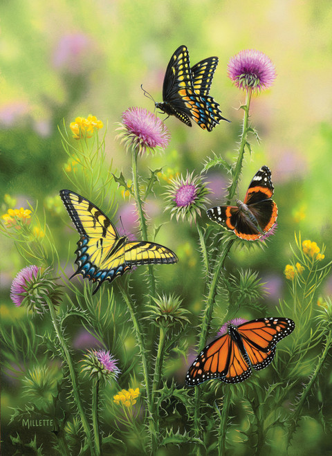 Butterflies & Thistle - 500+pc Large Format Puzzle by SunsOut