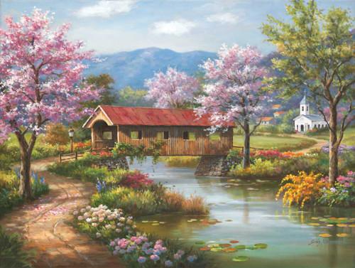 Spring Puzzles - Covered Bridge in Spring