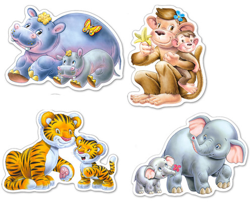 Jungle Babies  - 4,5,6,7pc Jigsaw Puzzle By Castorland