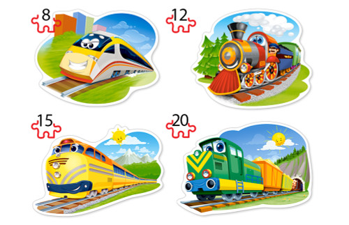 Funny Trains - 8,12,15,20pc Shaped Jigsaw Puzzle By Castorland