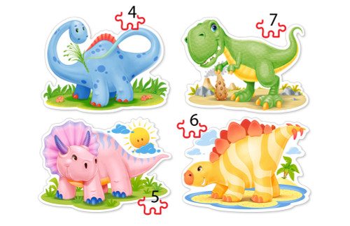 Baby Dinosaurs - 4,5,6,7pc Jigsaw Puzzle By Castorland