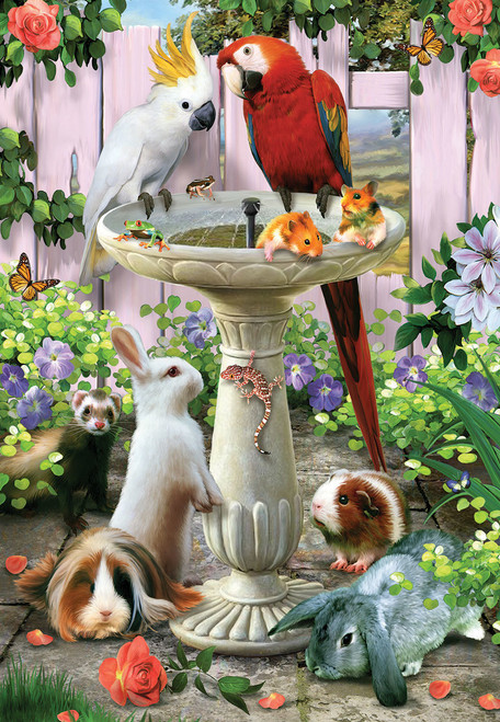 Bird Bath - 100pc Jigsaw Puzzle by SunsOut