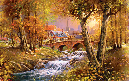 Bridge over the Stream - 300pc Large Format Jigsaw Puzzle by SunsOut