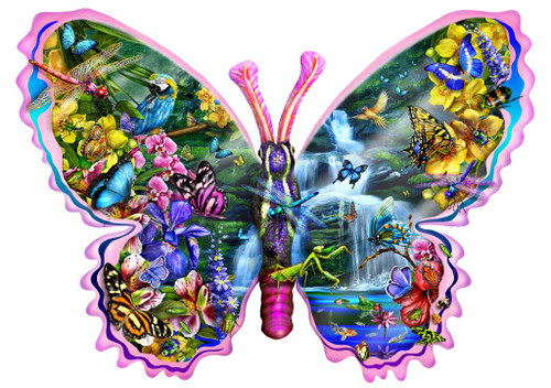Shaped Jigsaw Puzzle - Butterfly Waterfall