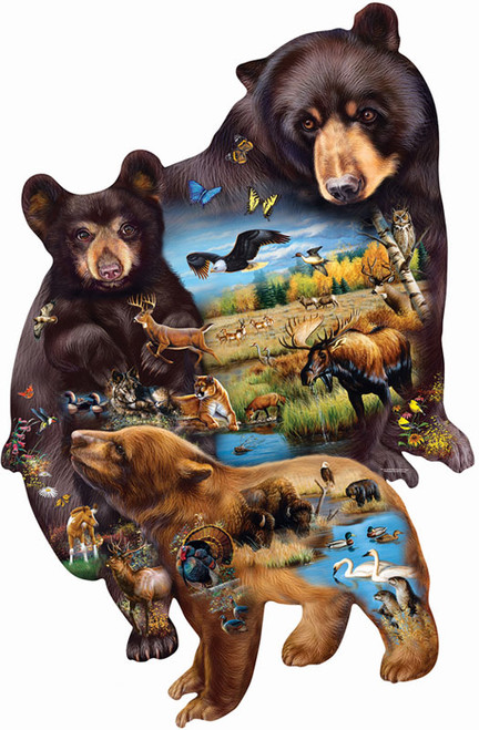 Shaped Jigsaw Puzzles - Bear Family Adventure