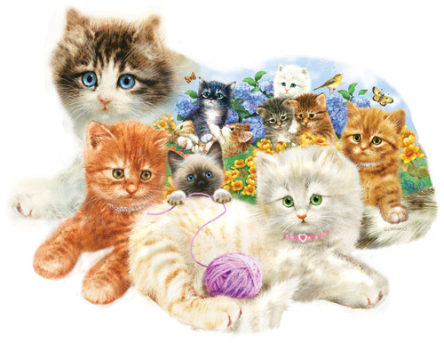 A Litter of Kittens - 1000pc Shape Jigsaw Puzzle by SunsOut