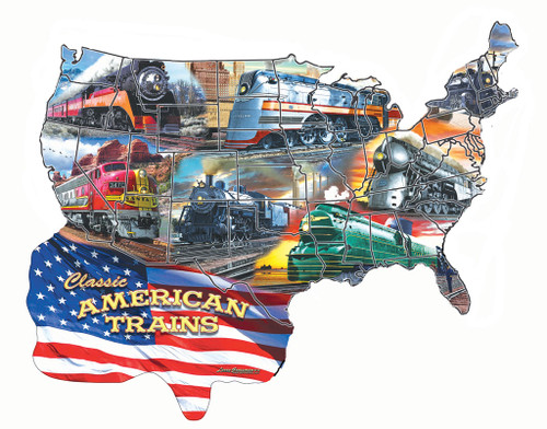 Classic American Trains - 600pc Shape Jigsaw Puzzle by SunsOut