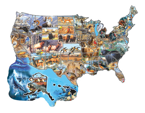 Wild America - 600pc Shape Jigsaw Puzzle by SunsOut (discon-20865)