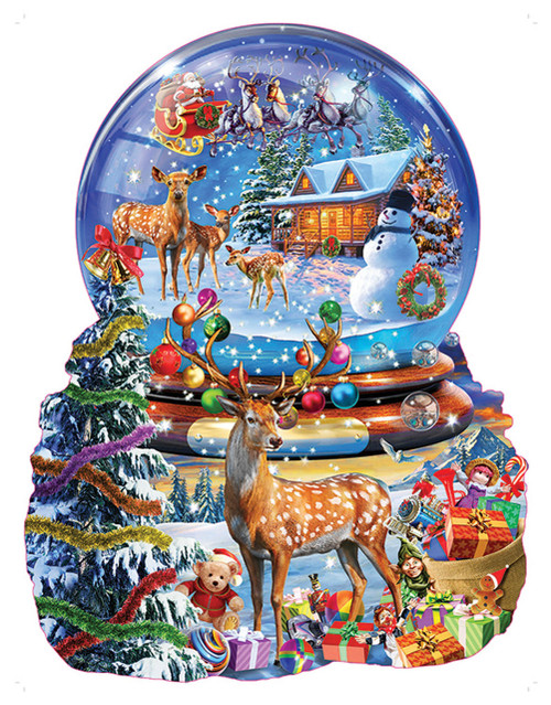 Christmas Snow Globe - 1000pc Shaped Jigsaw Puzzle by Sunsout