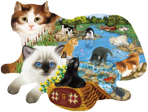 Fishing Kittens - 1000pc Shaped Jigsaw Puzzle by Sunsout