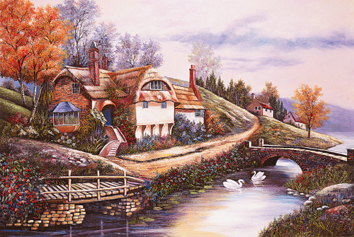 Tomax Jigsaw Puzzles - Cottage By The River Puzzle