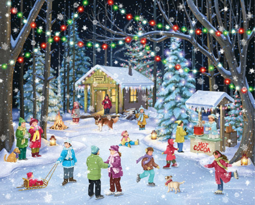 Woodland Skaters - 1000pc Jigsaw Puzzle By Vermont Christmas Company