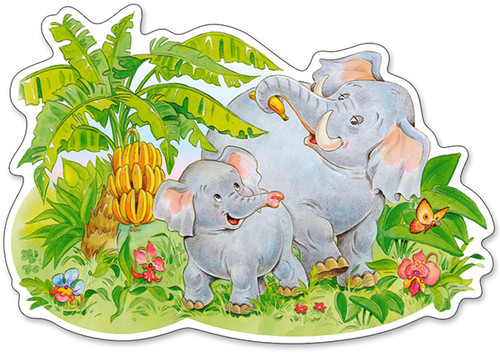 Playing Elephants - 12pc Jigsaw Puzzle By Castorland (discon-24171)