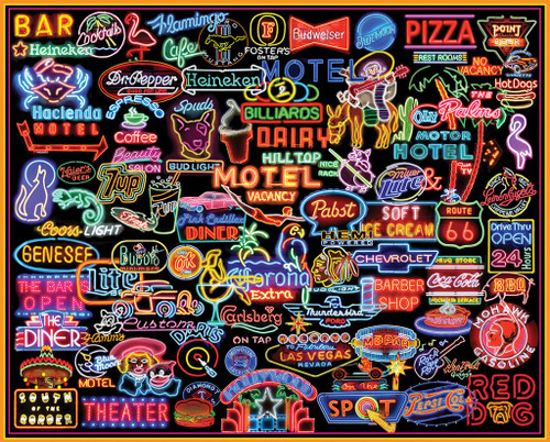White Mountain Neon Signs Jigsaw Puzzle