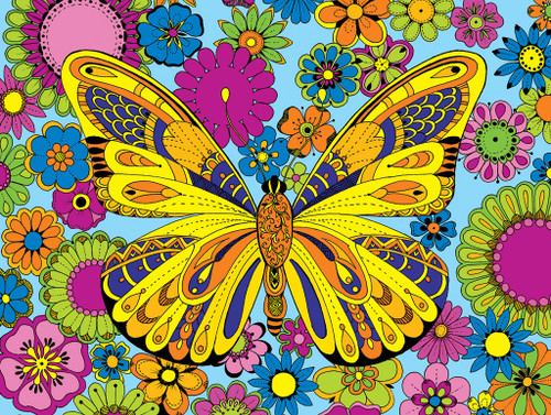 June Butterfly-Coloring Puzzle - 300pc Jigsaw Puzzle By ...