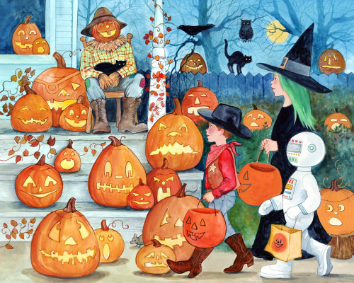 Jack-o'-Lanterns - 1000pc Jigsaw Puzzle by Vermont Christmas Company