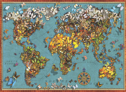 Butterfly World Map - 1000pc Jigsaw Puzzle by Anatolian