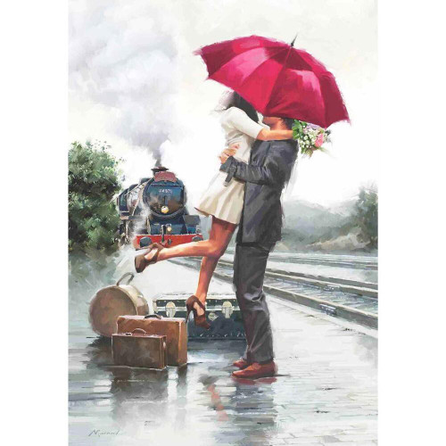 Couple On Train Station - 500pc Jigsaw Puzzle by Anatolian