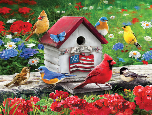 Patriotic Birdhouse - 300pc EZ Grip Jigsaw Puzzle By White Mountain