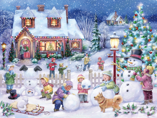 Snowman Celebration - 550pc Jigsaw Puzzle by Vermont Christmas Company