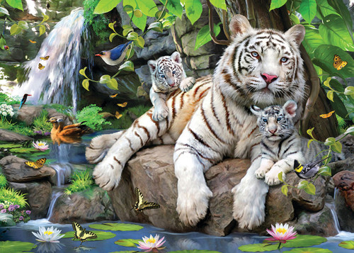 White Tigers - 15pc Jigsaw Puzzle by Sunsout