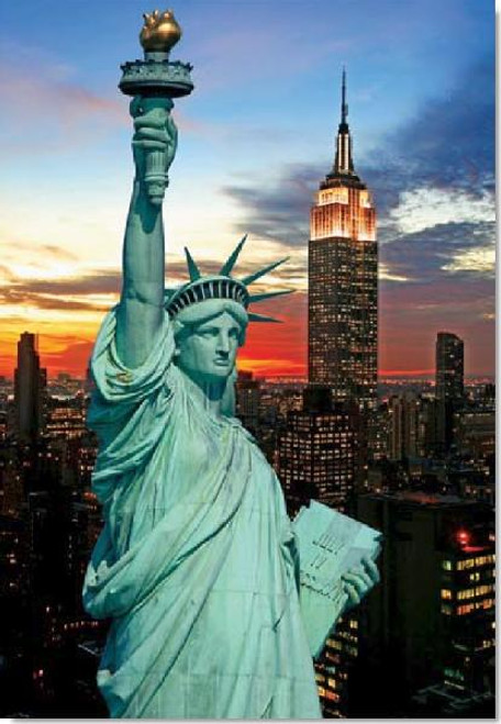 The Statue of Liberty Lum - 1000pc Glow-in-the-Dark Jigsaw Puzzle By Tomax