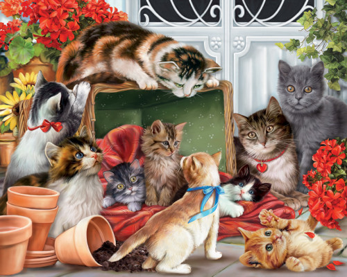 Garden Cats - 1000pc Jigsaw Puzzle by Vermont Christmas Company