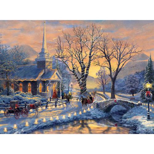 Thomas Kinkade: Holiday Evening Sleigh Ride - 1000pc Jigsaw Puzzle by Ceaco (discon-26061)