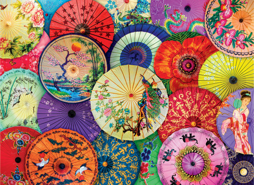 Asian Oil-Paper Umbrellas - 1000pc Jigsaw Puzzle by Eurographics