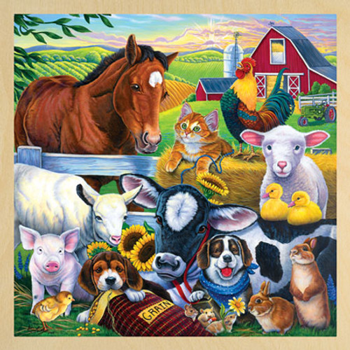Wood Puzzles - Farm Friends with Fun Facts