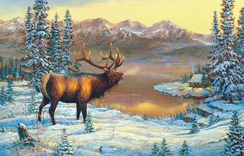 Elk By The Cabin - 1000pc Jigsaw Puzzle By Sunsout