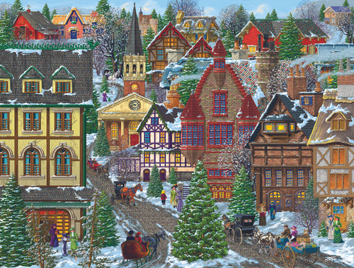 Winter Village Square - 300pc Jigsaw Puzzle By Sunsout