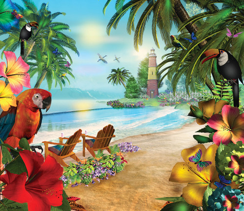 Island of Palms - 550pc Jigsaw Puzzle By Sunsout