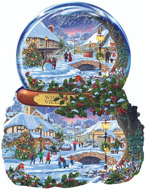 Winter Village - 1000pc Shaped Jigsaw Puzzle By Sunsout