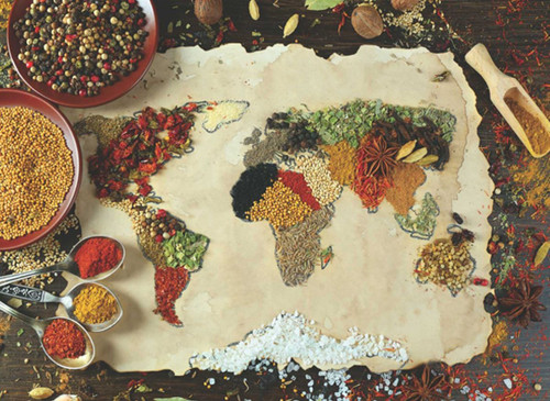 Herbal World Map - 1000pc Jigsaw Puzzle by Anatolian