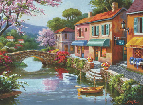 Quaint Village Shops - 1000pc Jigsaw Puzzle by Anatolian
