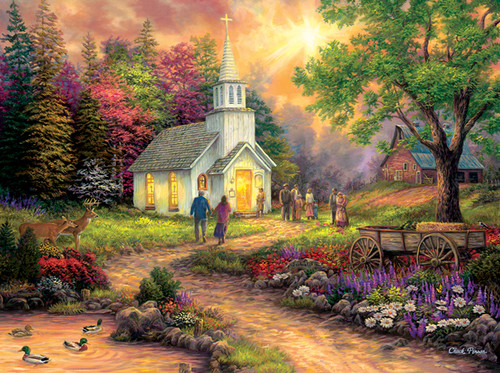 Country Church - 1000pc Large Format Jigsaw Puzzle By Sunsout