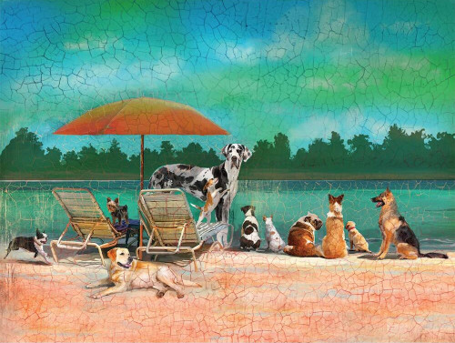 Dog Day at the Beach - 500pc Jigsaw Puzzle by Wellspring