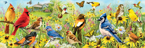 Giordano: Backyard Birds - 1000pc Panoramic Jigsaw Puzzle by Eurographics