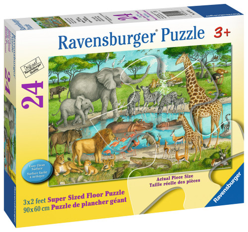 Watering Hole Delight - 24pc Floor Jigsaw Puzzle By Ravensburger