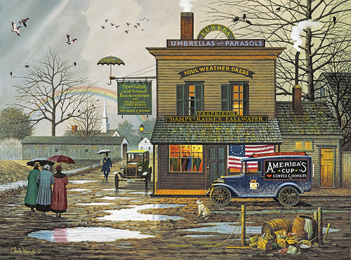 Charles Wysocki: Dampy Donuts on a Dreary Day - 1000pc Jigsaw Puzzle by Buffalo Games
