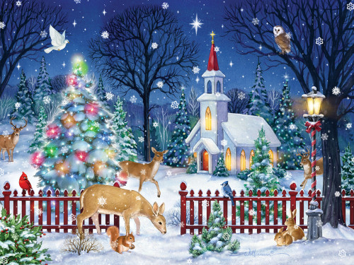 Peaceful Night - 550pc Jigsaw Puzzle by Vermont Christmas Company