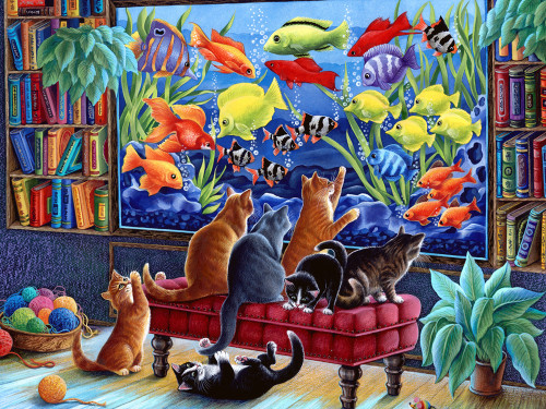 Kittens Fishing - 550pc Jigsaw Puzzle by Vermont Christmas Company