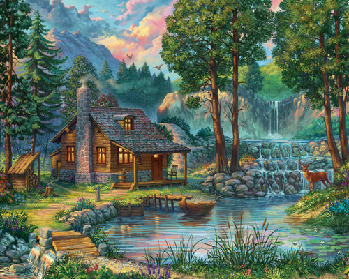 House by the Lake - 1000pc Jigsaw Puzzle by Vermont Christmas Company