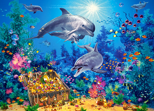 Dolphin Family - 300pc Jigsaw Puzzle By Castorland