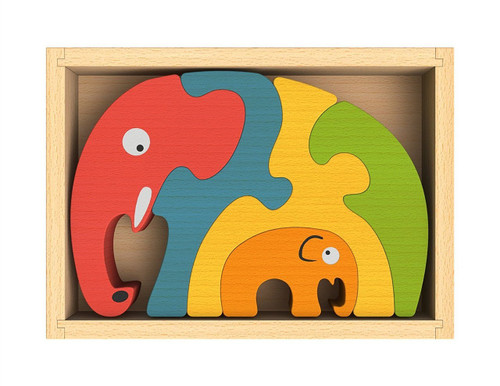 Elephant Family - EcoFriendly Wooden Puzzle by BeginAgain