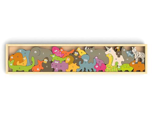 Alphabet Animal Parade - EcoFriendly Wooden Puzzle by BeginAgain