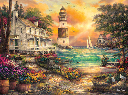 Chuck Pinson Escapes: Cottage by the Sea - 1000pc Jigsaw Puzzle by Buffalo Games